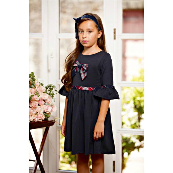 Honeypiekids | Patachou Navy Dress with Plaid Bow