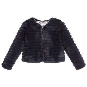 Patachou Navy Faux Fur Jacket - Honeypiekids.com