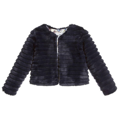 Honeypiekids | Patachou Navy Faux Fur Jacket