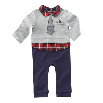Red Plaid Collared One Piece MudPie Outfit
