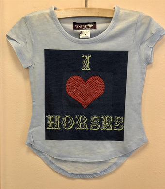 Sparkle By Stoopher Short Sleeve I love Horses Tee | Honeypiekids