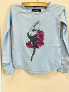 Sparkle by Stoopher Light Blue Long Sleeve Ballerina Shirt - Honeypiekids.com
