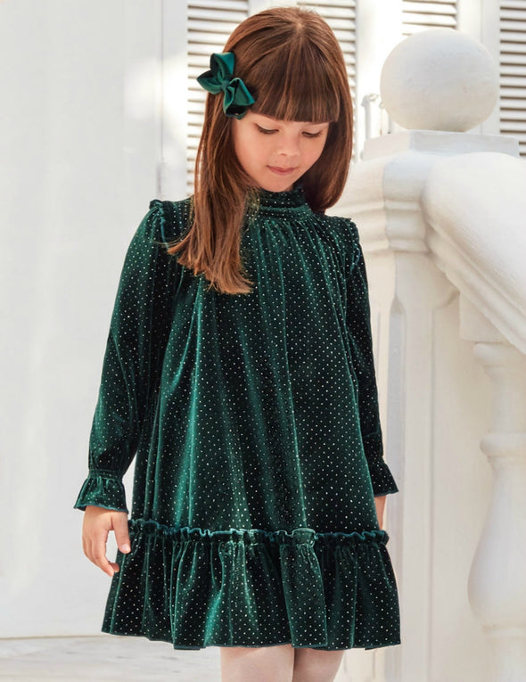 Honeypiekids | Abel & Lula Girls Green Sparkle Velvet Dress