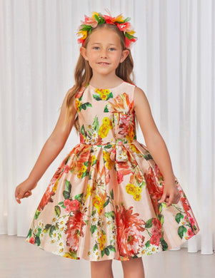 Abel & Lula Girls Printed Floral Dress - Honeypiekids