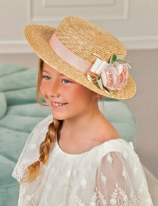 Abel & Lula Girls Salmon Ribbon Canotier Flowers Hat - Honeypiekids