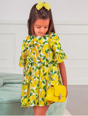 Abel & Lula Girls Yellow Lemon Printed Chiffon Dress - Honeypiekids
