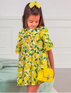 Abel & Lula Girls Yellow Lemon Printed Chiffon Dress | Honeypiekids