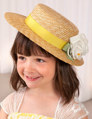 Abel & Lula Girls Yellow Ribbon Canotier Flowers Hat - Honeypiekids