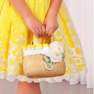 Abel & Lula Girls Yellow Trim Flow Basket Bag - Honeypiekids