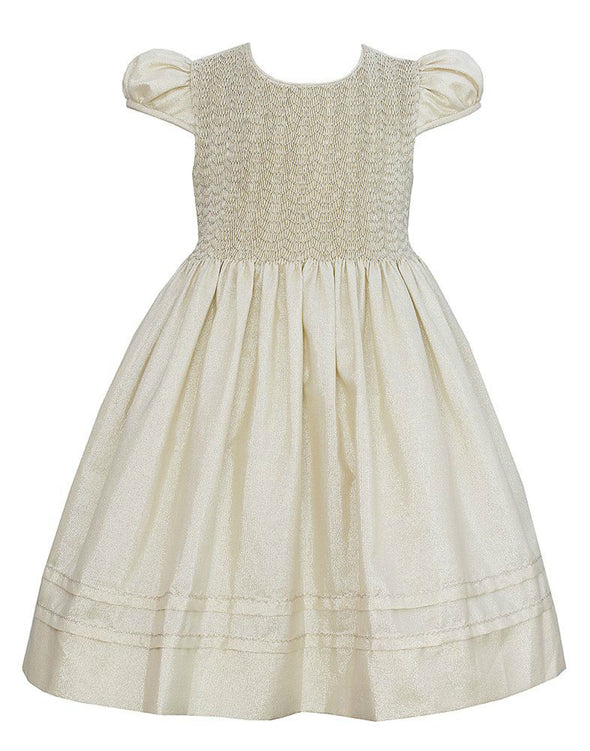 Honeypiekids | Anavini Gold Hand Smocked Dress