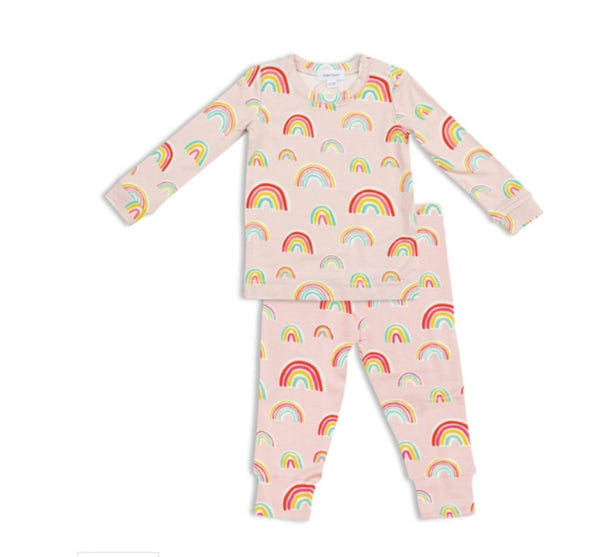 Honeypiekids | Angel Dear Pink Rainbows Lounge Wear Set