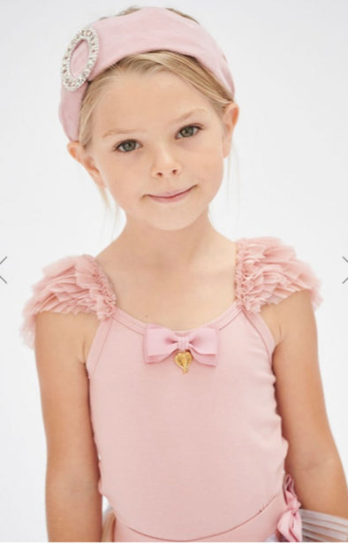 honeypiekids | Angel's Face Girls Sleeveless Flossy Top In Tea Rose Color.
