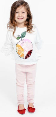 honeypiekids | Doe a Dear White Magic Sequin Apple Sweatshirt