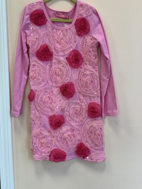 HavenGirl Pink Rosette Soutache Long Sleeve Dress | Honeypiekids
