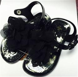Honeypiekids | BABY DEER GLITTER AND FLOWER JELLY SANDALS INFANT/TODDLER SIZE