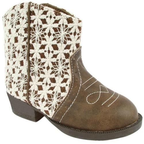 Baby Deer Little Girls Tan Crochet Western Boots - Honeypiekids.com