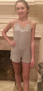 Bebe Gray Jersey Romper with Rhinestones | Honeypiekids