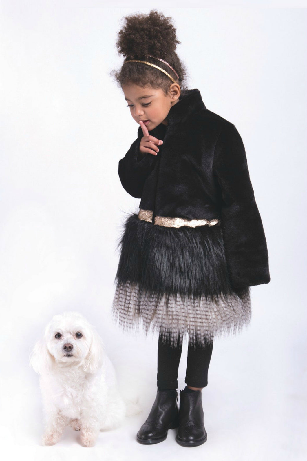 Imoga Freya Long Faux Fur Coat in Black | Honeypiekids