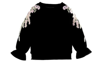 Honeypiekids | Doe a Dear Black Flower Embroidered Sweatshirt