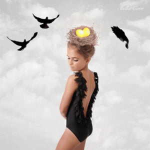 Stella Cove Black Petal One Piece Swimsuit