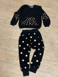 honeypiekids | Doe a Dear Unisex Black and Gold Dot Foil Pocket Sweatshirt and Joggers.