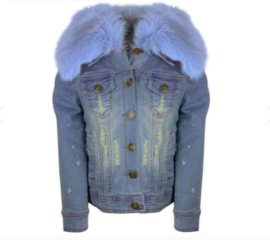 Honeypiekids | Girls Distressed Denim Fur Jacket (in 2 color choices)