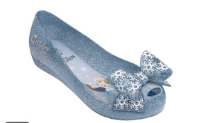 honeypiekids | Mini Melissa Frozen Ultra 25 Youth Pearl Blue Glitter Bow Shoes