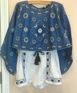 Honeypiekids | Blu & Blue Tabitha White and Dark Blue Embroidered Shorts