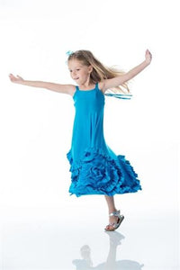 Pixie Girl Full Bloom Maxi Dress in Solid Blue | Honeypiekids