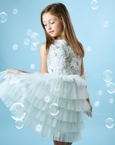 Honeypiekids | Ooh La La Couture Blue Mystical Bird Dress
