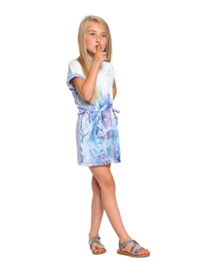 3Pommes Girls Blue Sea Life Print Dress