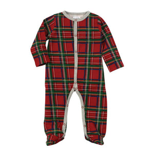 RED TARTAN PLAID FOOTED SLEEPER | Honeypiekids