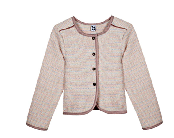 Honeypiekids | 3Pommes Girls Pale Pink Long Sleeved Tweed Jacket