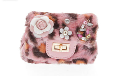 Honeypiekids | Doe a Dear Pink & Brown Cheetah Faux Fur Mini Purse