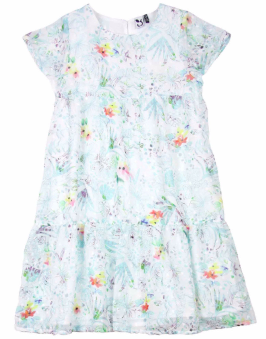 3POMMES Girl's Blue and Green Chiffon Dress