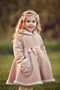 MaeLi Rose Shearling Lined Hooded Bow Dress Coat | Honeypiekids