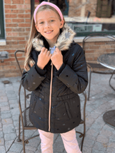 Load image into Gallery viewer, 3Pommes Girls Black Dot Coat W/ Faux Fur Trim Collar