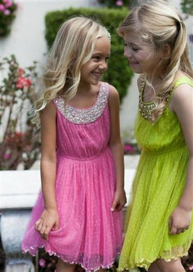 Cupcakes and Pastries Pink Tulle Dress w/ Beaded Neckline - Honeypiekids