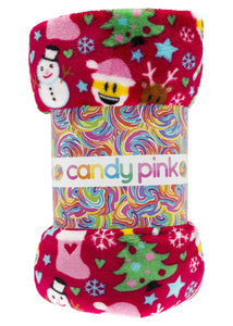 Candy Pink Fleece Blanket in CHRISTMAS Pattern | Honeypiekids
