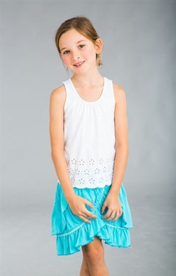 Dimity Bourke Fiesta Skirt in Cyan - Honeypiekids