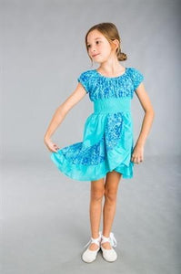 Dimity Bourke Flamenco dress in Cyan - Honeypiekids