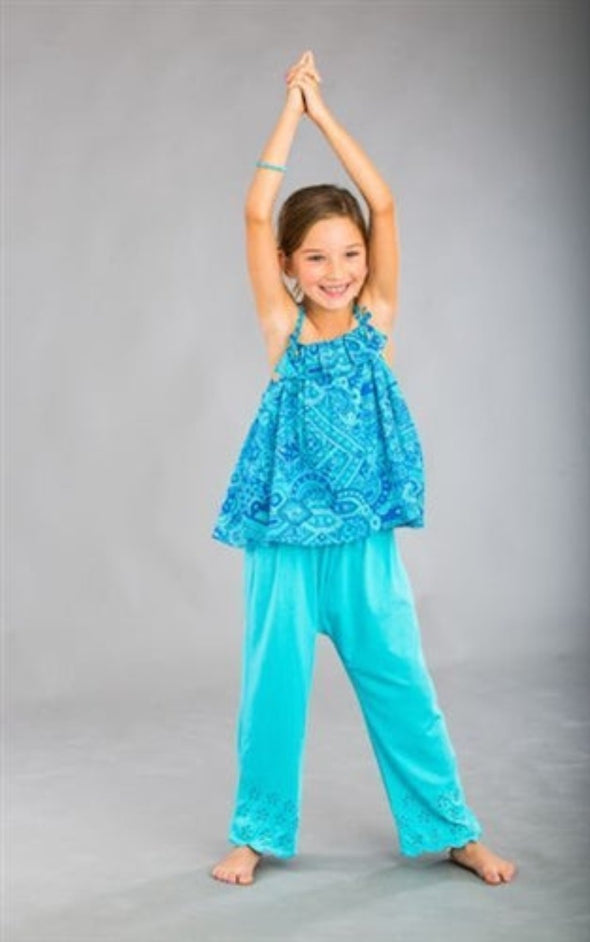 Honeypiekids | Dimity Bourke Siesta pants in Cyan