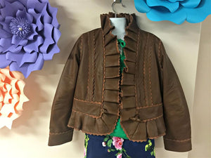 honeypiekids | Dimity Bourke Brown Leather Ruffle Jacket