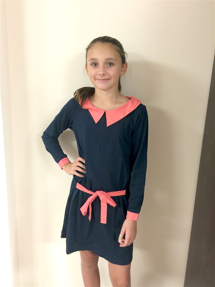 Dimity Bourke LS Peter Pan dress in navy blue with coral - Honeypiekids