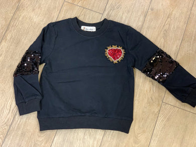 honeypiekids | Doe a Dear Girls Black Long Sleeve Sweatshirt with Sequin Heart Applique.