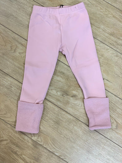 honeypiekids | Doe a Dear Girls Pink Leggings With Knit Cuffs.