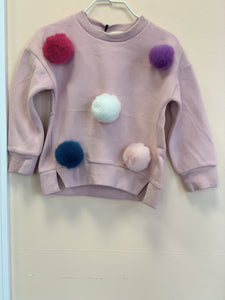 honeypiekids | Doe a Dear Girls Pink Pom Pom Sweatshirt.