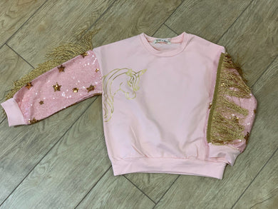 honeypiekids | Doe a Dear Girls Pink Unicorn Sweatshirt With Sequin & Fringe Sleeves.