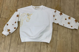 honeypiekids | Doe a Dear Girls White Unicorn Sweatshirt With Gold Sequin & Fringe Sleeves.