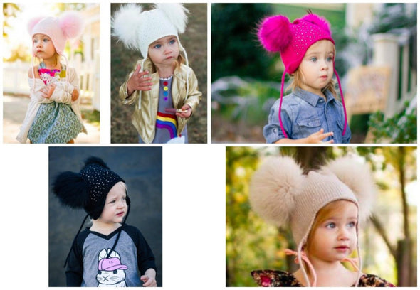 Honeypiekids | Double Fur Pom Crystal Knit Braids Hat- 5 Color Choices